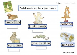 Ecris les mots avec les lettres  Calinours