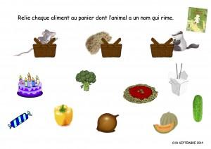 Relie chaque aliment au panier dont l'animal a un nom qui rime