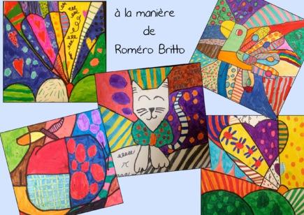 Coloriage Chat Romero Britto.Arts Visuels A La Maniere Page 5