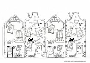 Coloriage maison for Dessin de maison en 3d